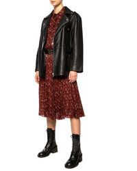 COACH Printed Pleated Skirt Burgundy - Red
