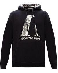 Emporio Armani Printed Hoodie Black