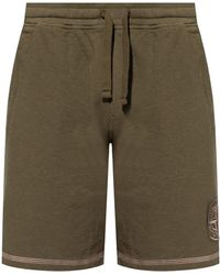 Stone Island Logo-embroidered Shorts - Green