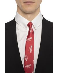 Moschino Patterned Tie With Logo - Red