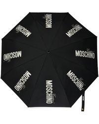 Moschino Folding Umbrella With Logo - Black