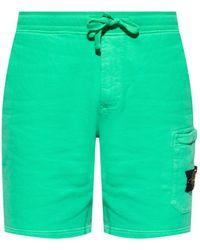 Stone Island Sweat Shorts With Logo - Green