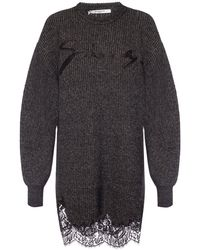 Givenchy Logo Embroidered Lace Scalloped Jumper Dress - Gray