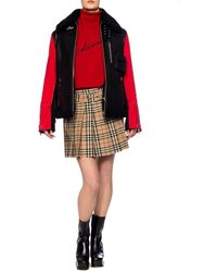 Burberry Panelled Leather, Shearling And Cotton-terry Jacket - Black