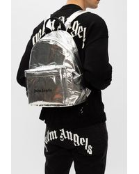 Palm Angels Backpack With Logo Unisex Silver - Metallic