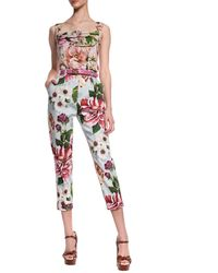 Dolce & Gabbana Patterned Creased Trousers Multicolour