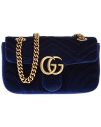 Gucci 'GG Marmont' Quilted Shoulder Bag - Blue