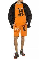Off-White c/o Virgil Abloh Printed Sweat Shorts Orange