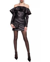 Saint Laurent Leather Dress Black