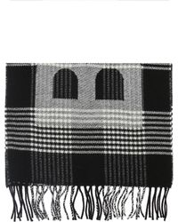 Balenciaga Patterned Scarf With A Plaid Motif - Black