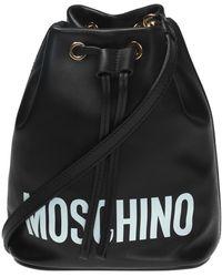 Moschino Logo Bucket Bag Black