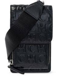 MCM Strapped Pouch With Logo Black