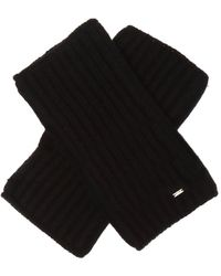 Saint Laurent Fingerless Wool Gloves - Black
