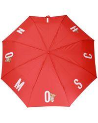 Moschino Logo-printed Umbrella Unisex Red