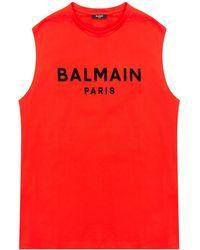 Balmain Branded Tank Top - Red