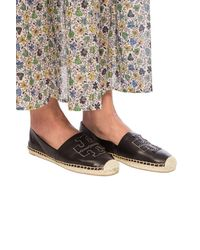 Tory Burch Branded Leather Espadrilles Black