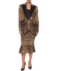Dolce & Gabbana Leopard Print Single-breasted Blazer - Brown