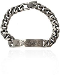 DIESEL 'a-bipak' Bracelet With Logo Silver - Metallic