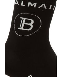 Balmain Socks With Logo - Black