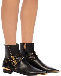 Versace Buckle Stud Ankle Boots - Black