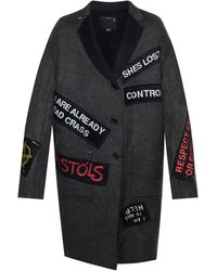 R13 Patched Wool Coat - Gray