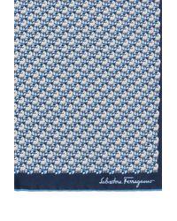 Ferragamo Silk Pocket Square Navy Blue