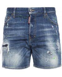 DSquared² Paint-splatter Effect Denim Shorts - Blue
