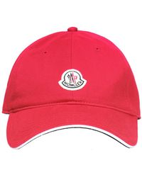 a8f7504a430 Lyst - Moncler Logo Baseball Cap in Red for Men