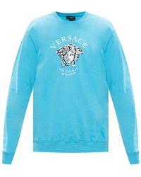 Versace - Sweatshirt With Logo Light Blue - Lyst