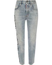 DSquared² 'tight Cropped Jean' Distressed Jeans - Blue