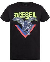 DIESEL Panther Print T-shirt - Black