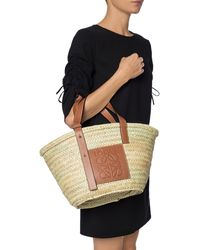Loewe Open Raffia Basket Bag - Brown
