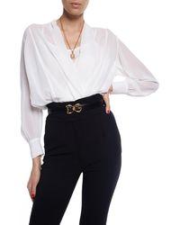 Dolce & Gabbana Leather Belt With Logo - Black