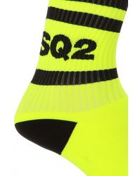 DSquared² Logo-embroidered Socks Neon - Yellow