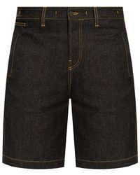 Jacquemus 'nimes' Denim Shorts With Logo Navy Blue