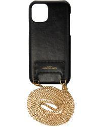 Saint Laurent Iphone 11 Pro Leather Case On A Chain - Black