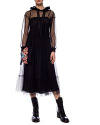 RED Valentino Hooded Tulle Dress Black