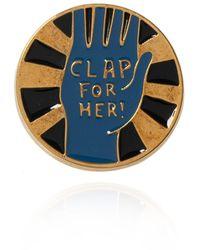 Chloé Logo Brooch Gold - Metallic