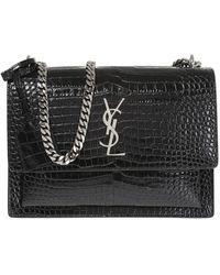 Saint Laurent Uptown Croc-embossed Leather Wallet-on-chain - Black