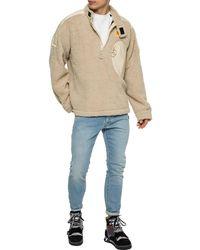 Off-White c/o Virgil Abloh Beige Eco Fur Moto Half-zip Pullover - Natural