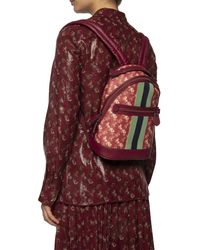 COACH Barrow Backpack With Horse And Carriage Print And Varsity Stripe - Red