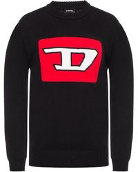 DIESEL Knitted Logo Intarsia Pullover - Black