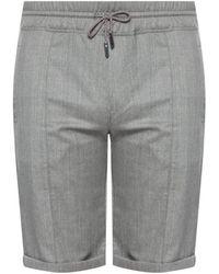 Billionaire Patterned Shorts With Logo - Grey
