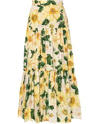 Dolce & Gabbana Flared Skirt Yellow