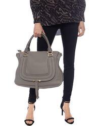 Chloé Marcie Medium Cashmere Grey Calfskin Leather Tote