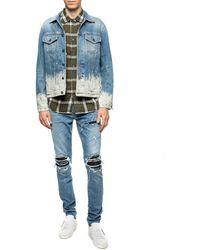 DIESEL Denim Jacket With A Paint Splatter Effect Blue