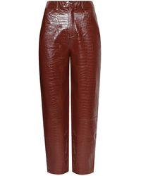 Samsøe & Samsøe Vegan Leather Trousers - Brown