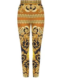 Versace Baroque-printed Pants Multicolor - Yellow
