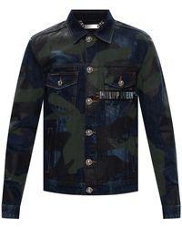 Philipp Plein Raw Edge Denim Jacket - Blue