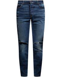 Amiri - Jeans With Worn Effect Navy Blue - Lyst